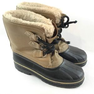 Sorel Womens 7 Youth 6 Ram Tan Leather Snow Boots
